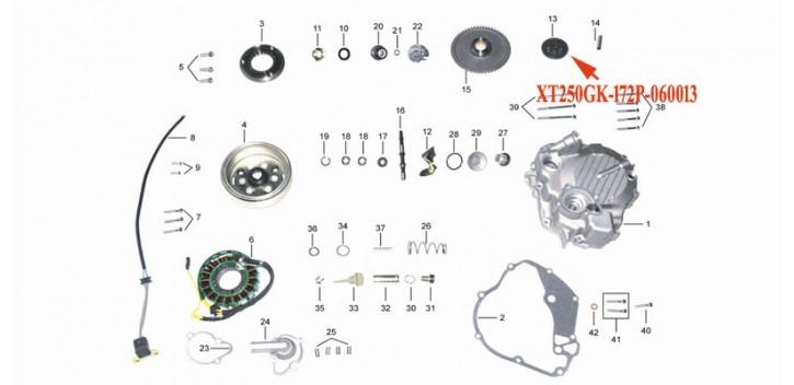 Kinroad 250 cc starter gear sprocket