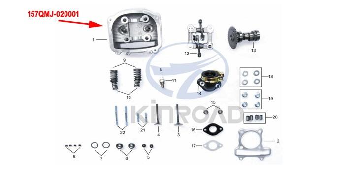 kinroad 150 cc testata cilindri