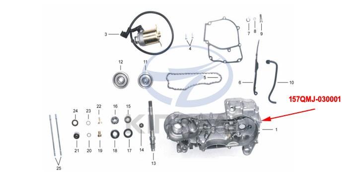 left crankcase KINROAD 150 CC