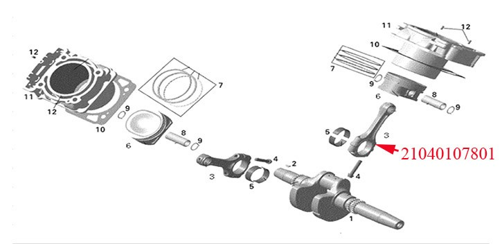 Connecting rod assembly Odes 800cc