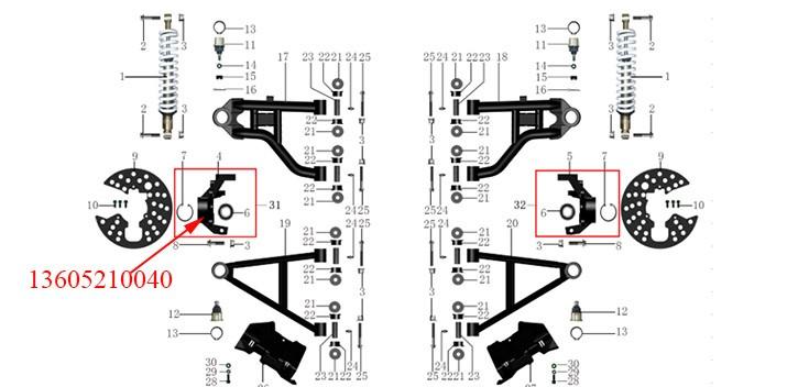 Steering Knuckle, LH Odes 800cc